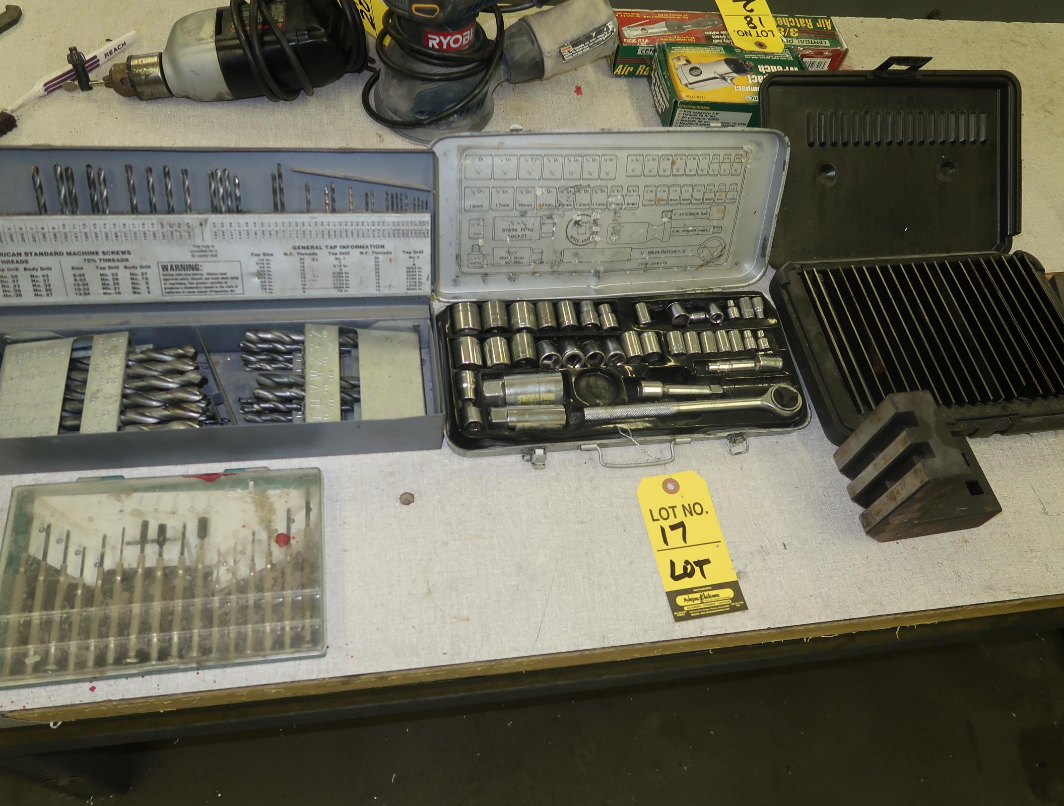 LOT SOCKET SET, DRILL INDEX, PARALELLS, SMALL DRIVER SET, (2) KNIFE SETS