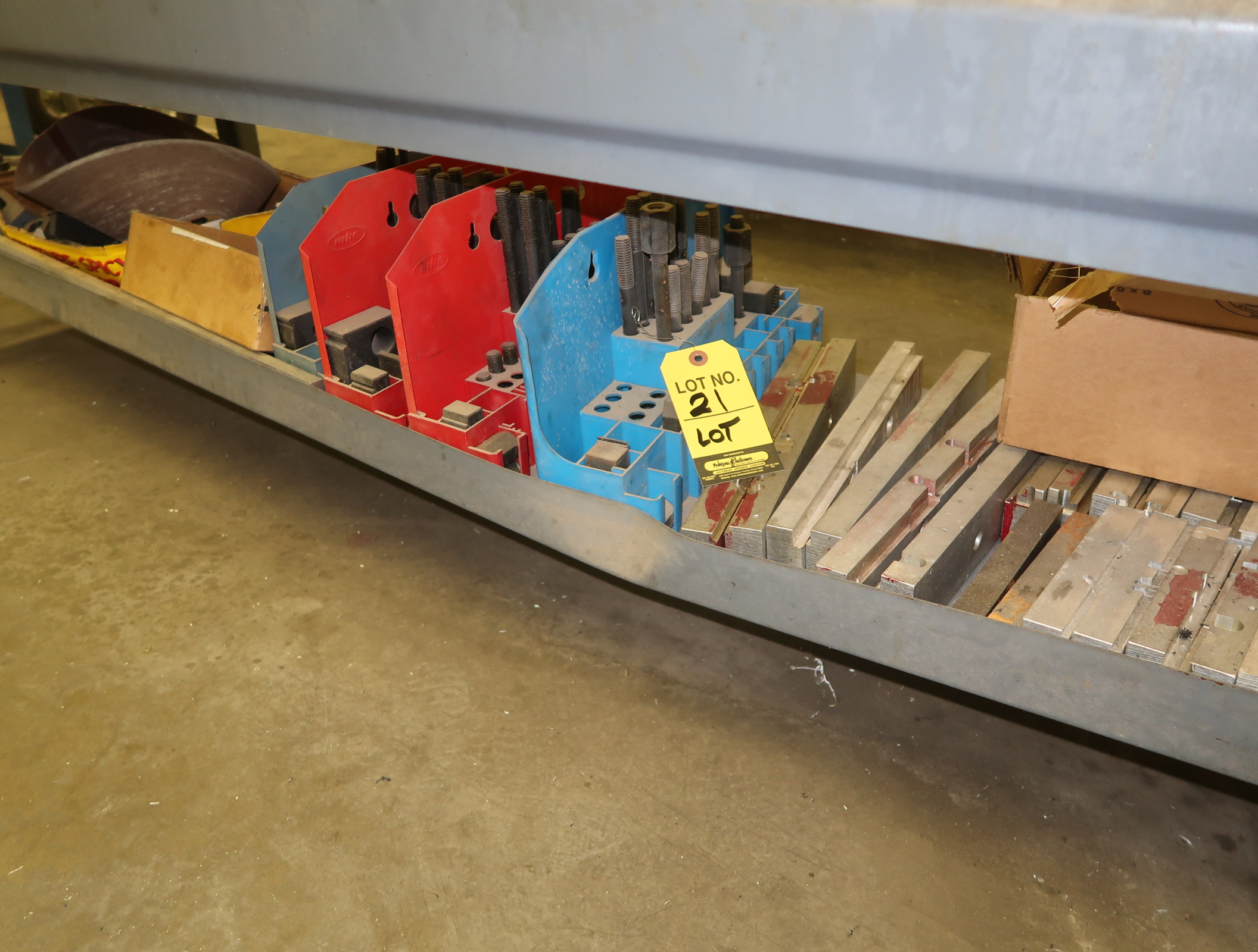 LOT SHOP TABLE W/ TOOL CLAMP KITS, ETC. UNDER TABLE - Image 2 of 2