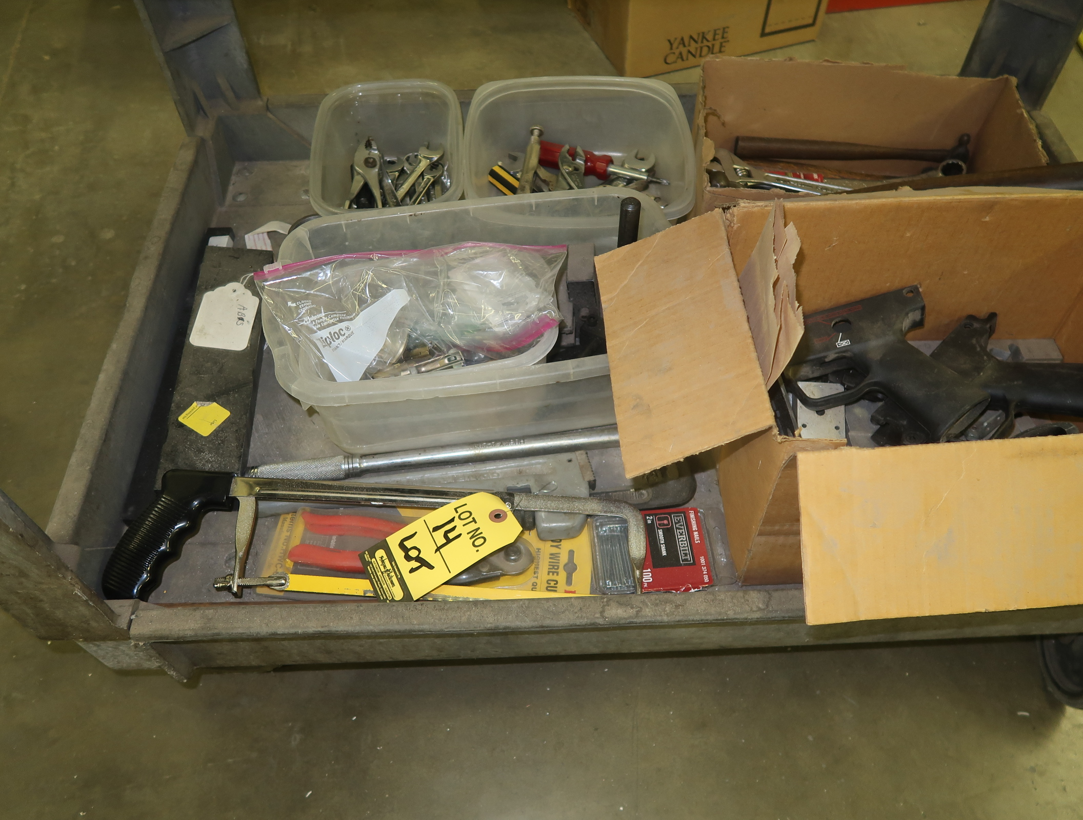 LOT CONTENTS ON BOTTOM OF CART, WRENCHES, SAWS, ETC.