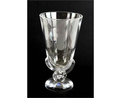 Modern Steuben glass vase on swirl supports and round foot, 23cm high,.