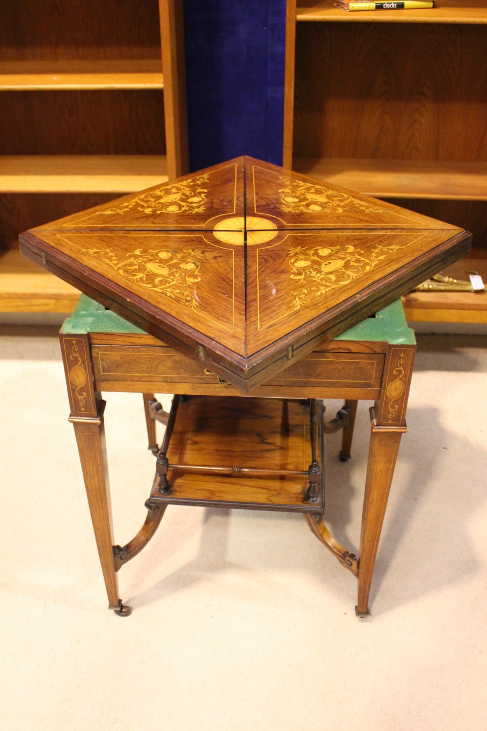 Lot 77 - A VERY FINE EDWARDIAN FOLD OVER 'ENVELOPE' CARD / GAMES TABLEL, with inlaid detail throughout, the