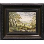 A FRAMED 'CASTELLI' LANDSCAPE TILE WITH FIGURES AND BUILDINGS, possibly 18th century, inscribed