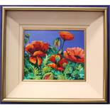 """KENNETH WEBB, (b. 1927), """"POPPIES IN SUNLIGHT"""", oil on canvas, signed lower right, inscribed verso"""