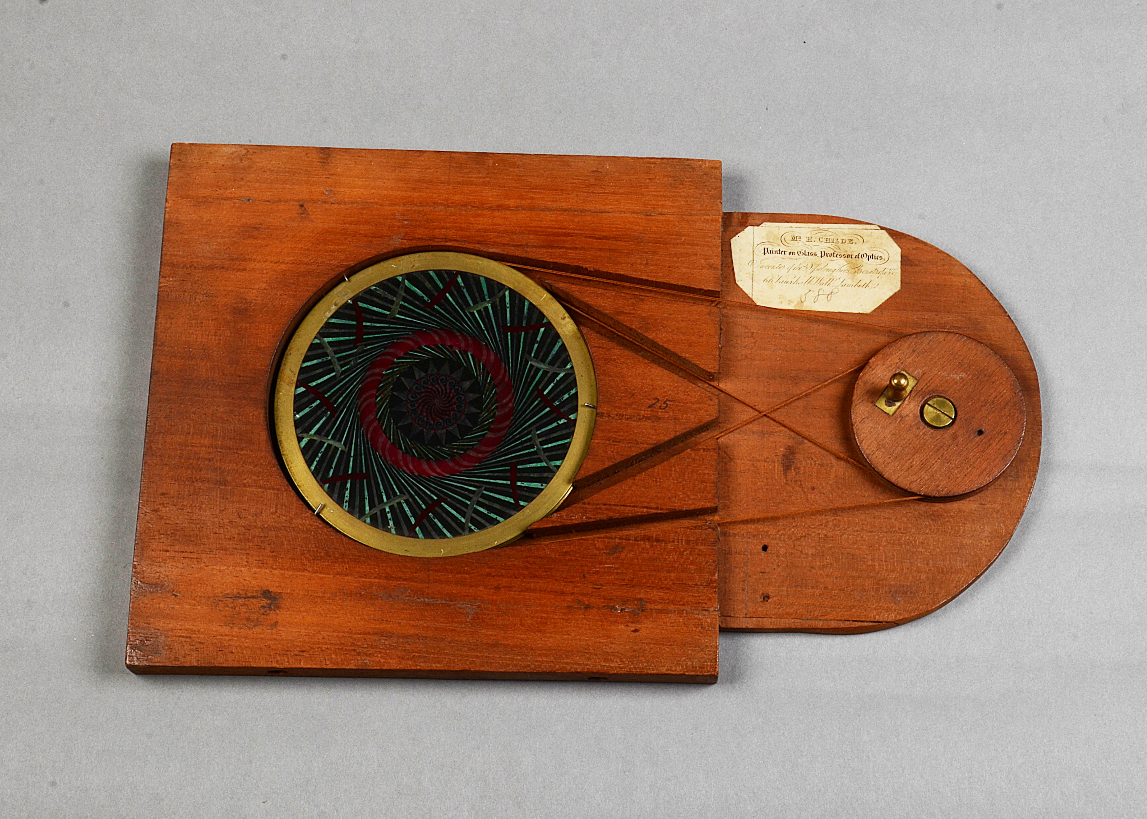 Lot 266 - A rare and large Henry Langdon Childe Mahogany-Mounted and Brass Hand-Painted Chromatrope, pair of