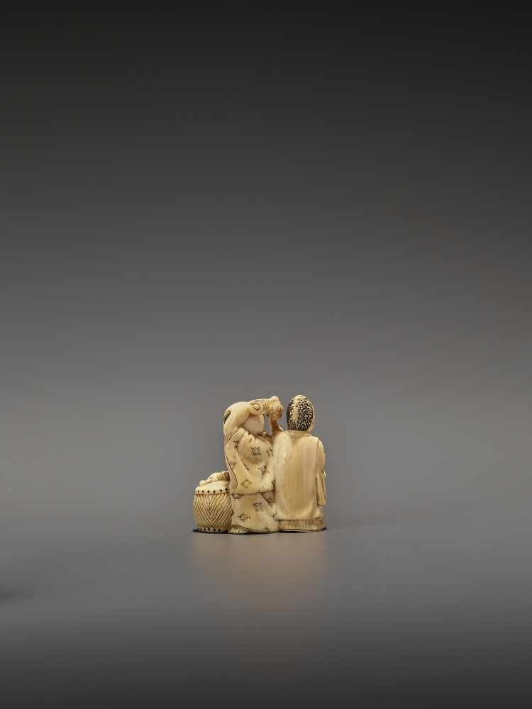 HOMIN: AN IVORY NETSUKE OF TWO BOYS AS MUSICIANS By Homin, signed Homin with kaoJapan, Edo/Tokyo, - Image 5 of 10