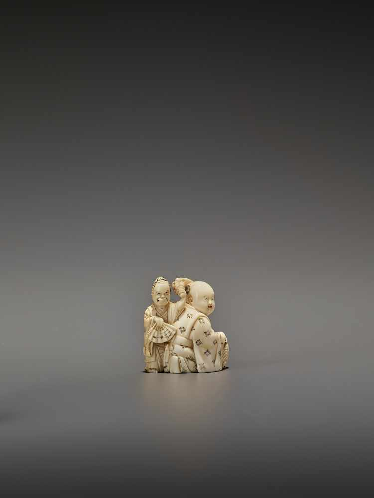 HOMIN: AN IVORY NETSUKE OF TWO BOYS AS MUSICIANS By Homin, signed Homin with kaoJapan, Edo/Tokyo, - Image 8 of 10