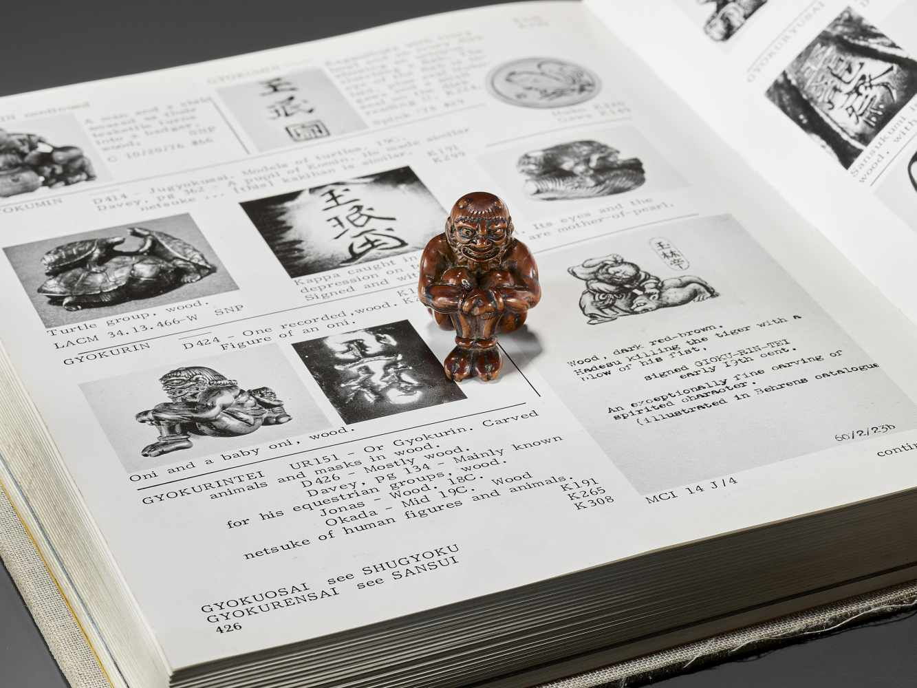 GYOKURIN: AN AMUSING WOOD NETSUKE OF RAIJIN WITH RAITARO By Gyokurin, signed GyokurinJapan, early - Image 2 of 12