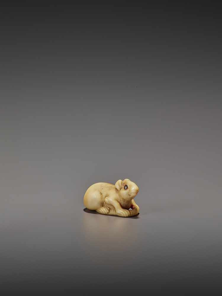 A CHARMING MARINE IVORY NETSUKE OF A RAT HOLDING ITS TAIL UnsignedJapan, 19th century, Edo period ( - Image 7 of 10