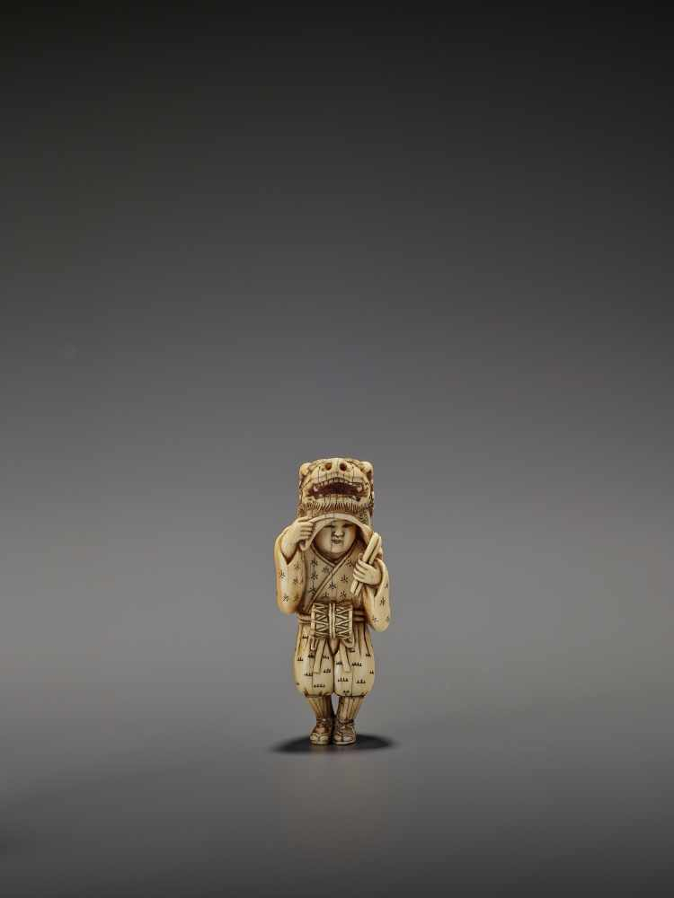 AN EARLY AND FINE IVORY NETSUKE OF A SHISHIMAI DANCER UnsignedJapan, late 18th century, Edo - Image 11 of 13