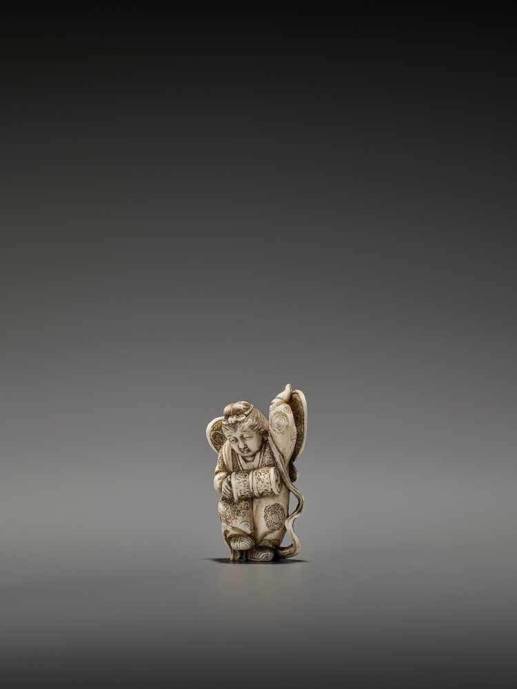 MASAHIRO: A VERY RARE IVORY NETSUKE OF A BUTTERFLY DANCER, KOCHO NO MAI By Masahiro, signed - Image 3 of 13