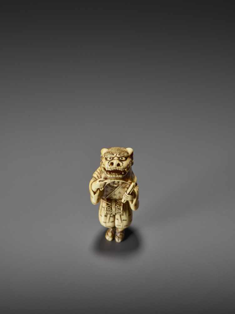 AN EARLY AND FINE IVORY NETSUKE OF A SHISHIMAI DANCER UnsignedJapan, late 18th century, Edo - Image 3 of 13