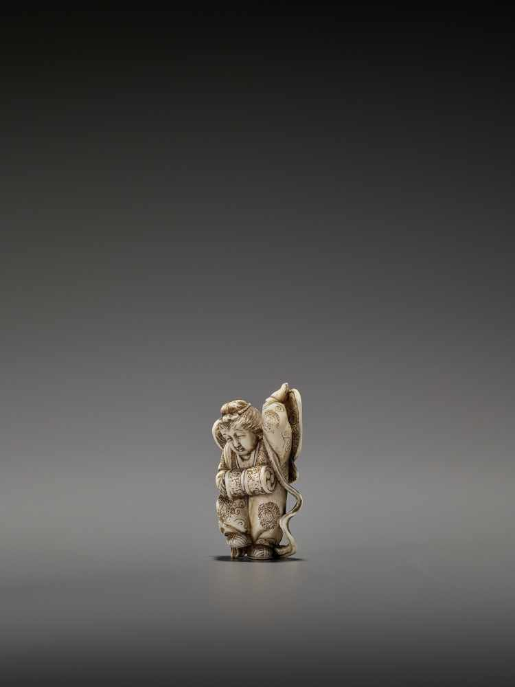 MASAHIRO: A VERY RARE IVORY NETSUKE OF A BUTTERFLY DANCER, KOCHO NO MAI By Masahiro, signed - Image 4 of 13