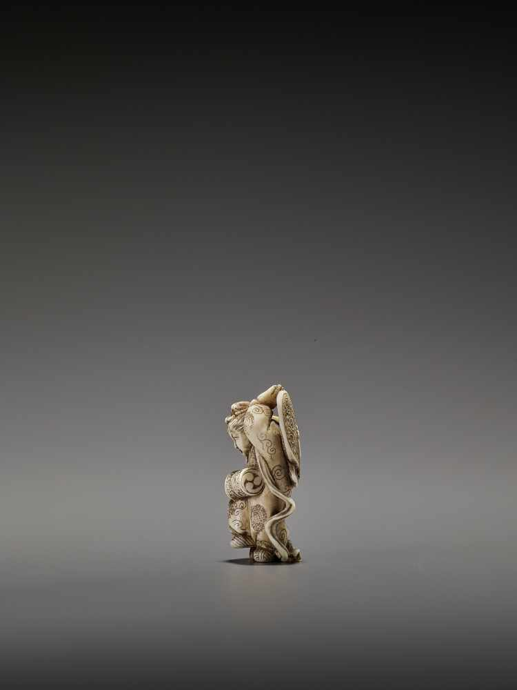 MASAHIRO: A VERY RARE IVORY NETSUKE OF A BUTTERFLY DANCER, KOCHO NO MAI By Masahiro, signed - Image 6 of 13