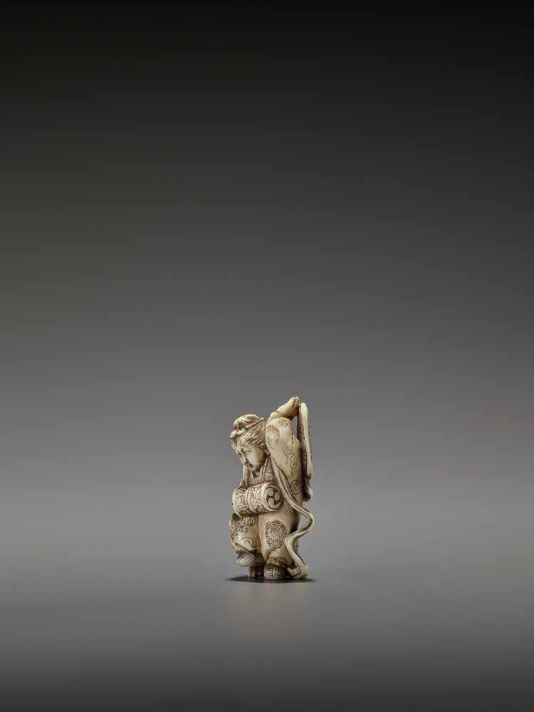 MASAHIRO: A VERY RARE IVORY NETSUKE OF A BUTTERFLY DANCER, KOCHO NO MAI By Masahiro, signed - Image 5 of 13