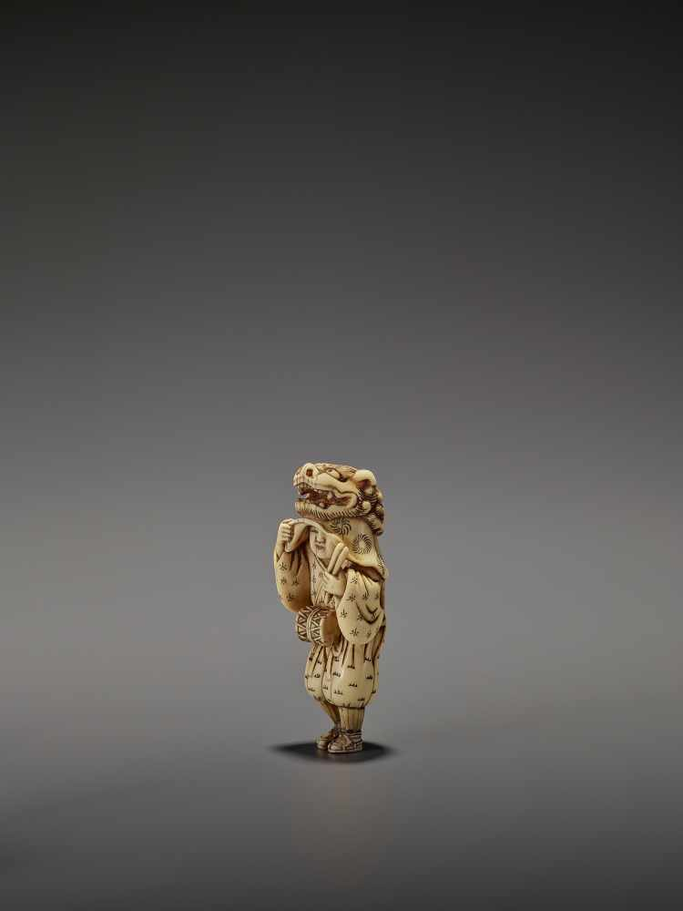AN EARLY AND FINE IVORY NETSUKE OF A SHISHIMAI DANCER UnsignedJapan, late 18th century, Edo - Image 5 of 13