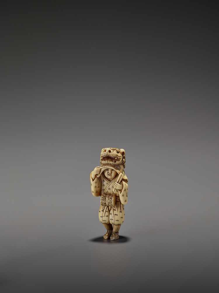 AN EARLY AND FINE IVORY NETSUKE OF A SHISHIMAI DANCER UnsignedJapan, late 18th century, Edo - Image 12 of 13