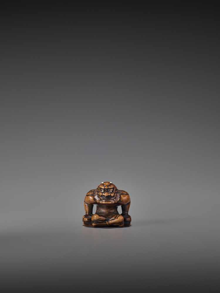 A FINE WOOD NETSUKE OF RAIJIN UnsignedJapan, probably Gifu, early 19th century, Edo period (1615-