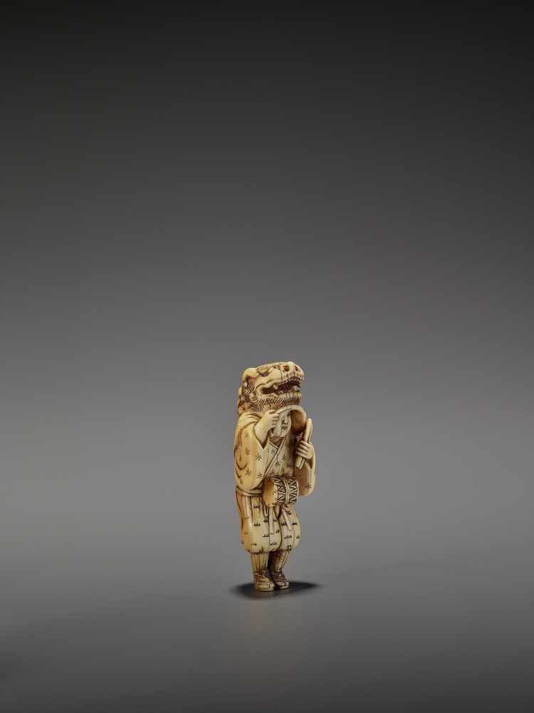 AN EARLY AND FINE IVORY NETSUKE OF A SHISHIMAI DANCER UnsignedJapan, late 18th century, Edo - Image 9 of 13