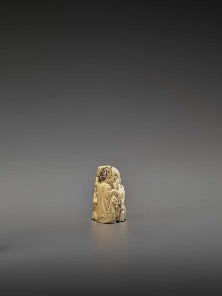 HOMIN: AN IVORY NETSUKE OF TWO BOYS AS MUSICIANS By Homin, signed Homin with kaoJapan, Edo/Tokyo, - Image 6 of 10