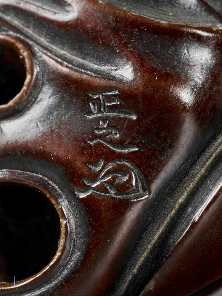 MASAYUKI: A WOOD NETSUKE OF A MASK CARVER IMITATING USOFUKI MASK By Kato Masayuki, signed Masayuki - Image 8 of 8