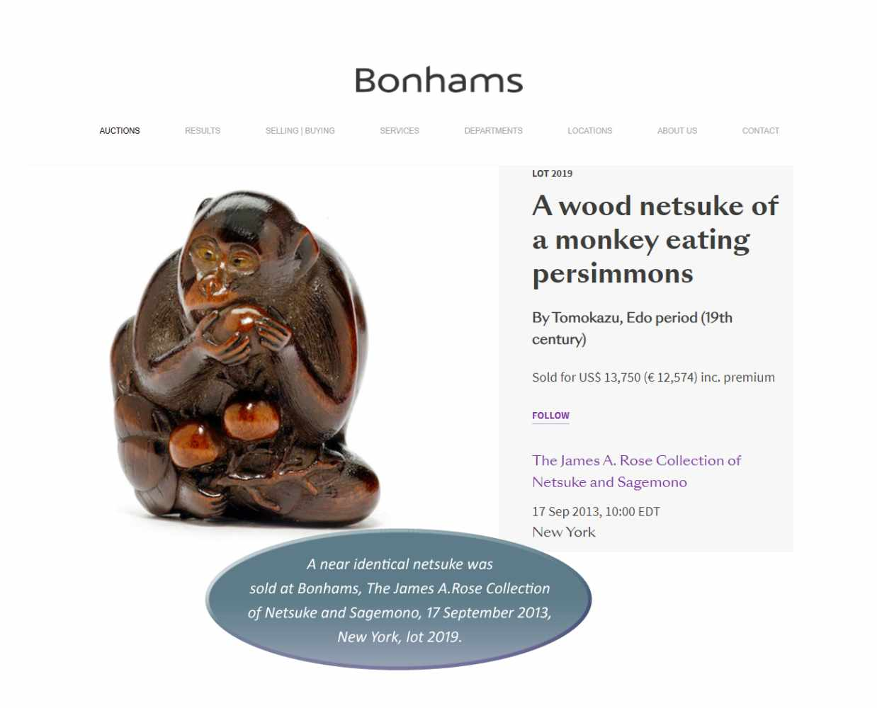 TOMOKAZU: AN EXCELLENT WOOD NETSUKE OF A MONKEY EATING PERSIMMONS By Kano Tomokazu, signed - Image 11 of 11