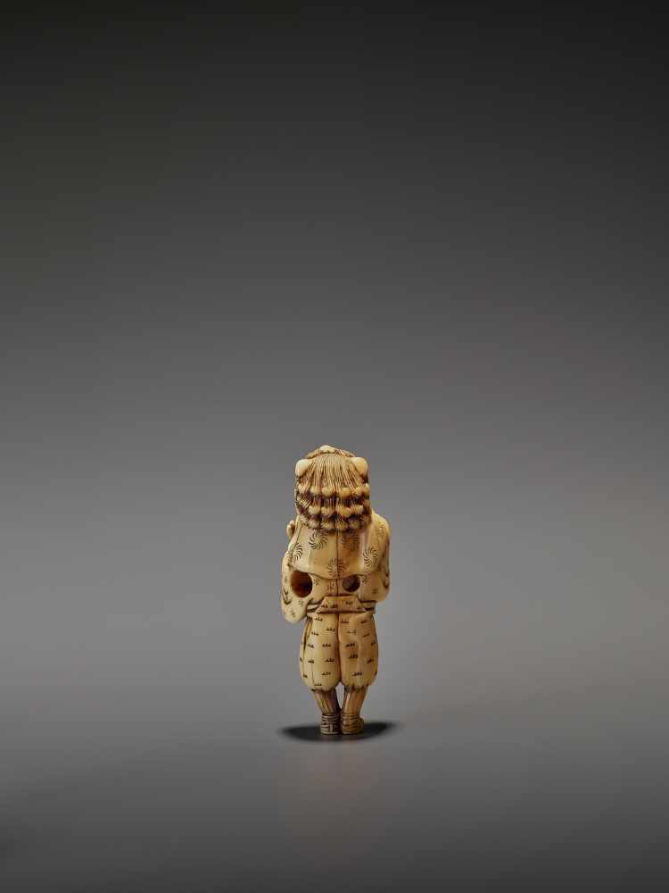 AN EARLY AND FINE IVORY NETSUKE OF A SHISHIMAI DANCER UnsignedJapan, late 18th century, Edo - Image 7 of 13
