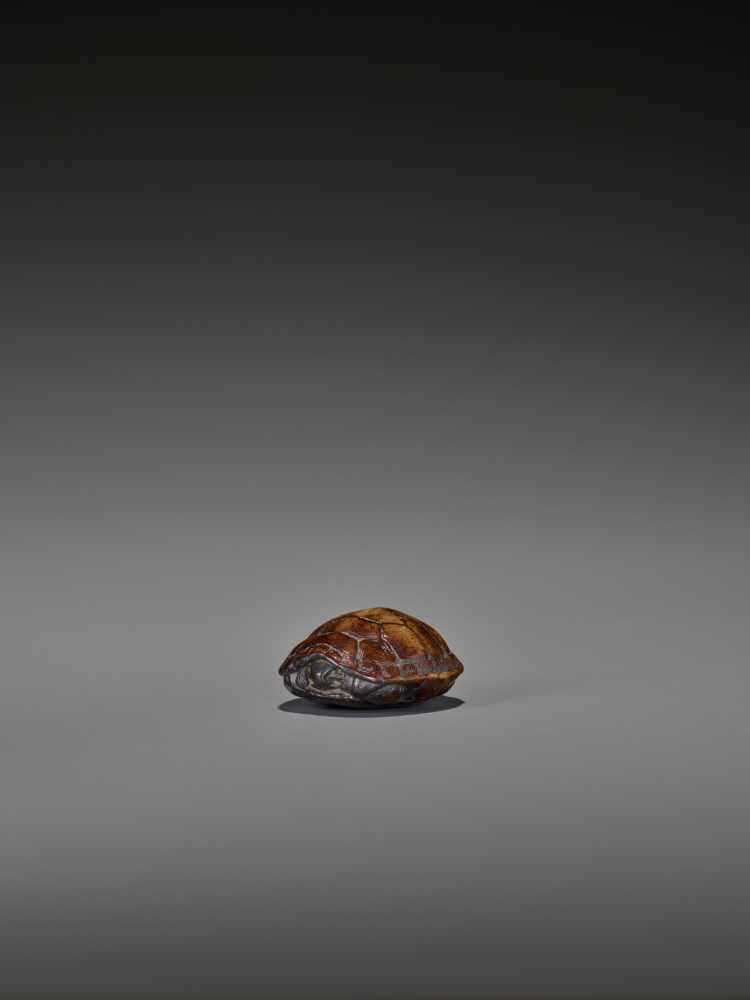 A WOOD NETSUKE OF A RETRACTED TORTOISE UnsignedJapan, 18th century, Edo period (1615-1868)This early - Image 4 of 10