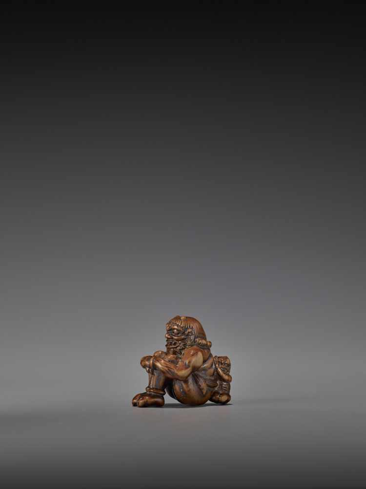 GYOKURIN: AN AMUSING WOOD NETSUKE OF RAIJIN WITH RAITARO By Gyokurin, signed GyokurinJapan, early