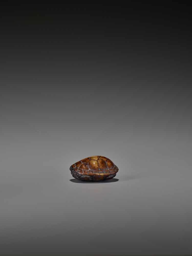 A WOOD NETSUKE OF A RETRACTED TORTOISE UnsignedJapan, 18th century, Edo period (1615-1868)This early - Image 5 of 10