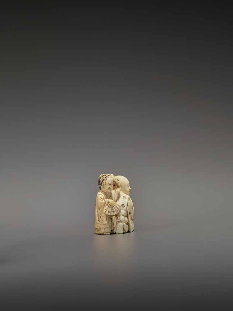 HOMIN: AN IVORY NETSUKE OF TWO BOYS AS MUSICIANS By Homin, signed Homin with kaoJapan, Edo/Tokyo, - Image 7 of 10