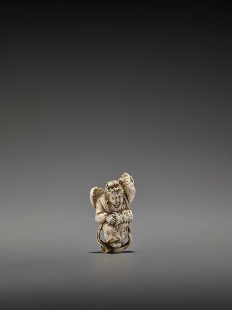 MASAHIRO: A VERY RARE IVORY NETSUKE OF A BUTTERFLY DANCER, KOCHO NO MAI By Masahiro, signed - Image 10 of 13