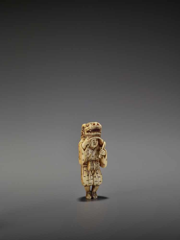 AN EARLY AND FINE IVORY NETSUKE OF A SHISHIMAI DANCER UnsignedJapan, late 18th century, Edo - Image 10 of 13