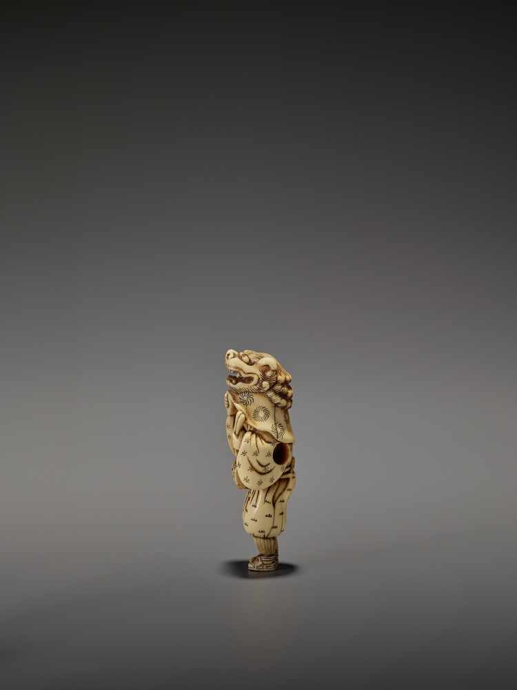 AN EARLY AND FINE IVORY NETSUKE OF A SHISHIMAI DANCER UnsignedJapan, late 18th century, Edo - Image 6 of 13