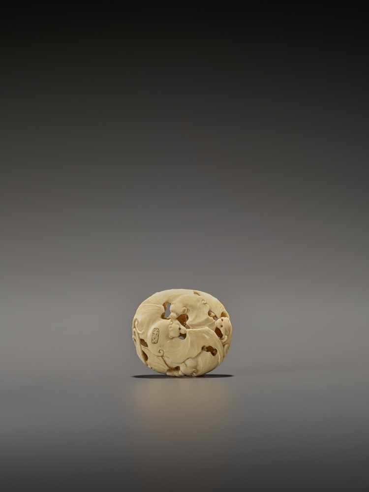 A RARE IVORY RYUSA MANJU NETSUKE WITH MANY BATS SignedJapan, late 19th centuryFinely carved in - Image 2 of 8