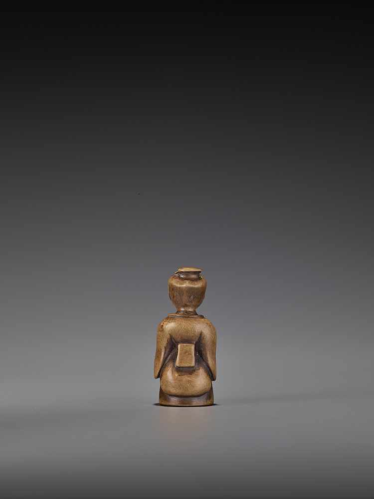 A RARE WOOD 'DOUBLE SHUNGA' NETSUKE OF A MOTHER AND CHILD UnsignedJapan, 18th century, Edo period ( - Image 6 of 8