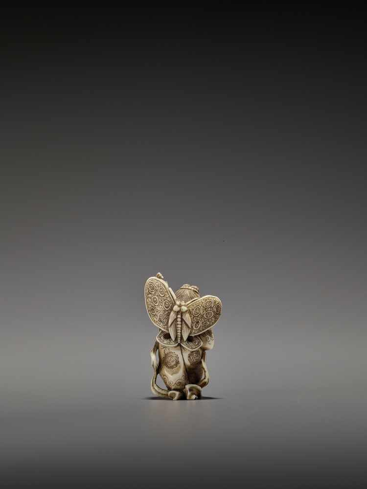 MASAHIRO: A VERY RARE IVORY NETSUKE OF A BUTTERFLY DANCER, KOCHO NO MAI By Masahiro, signed - Image 2 of 13