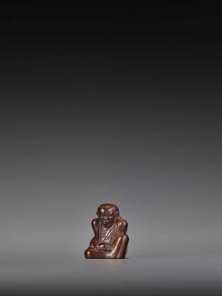 MIWA: A RARE WOOD NETSUKE OF CHAJIN By Miwa I (Yukan), signed Miwa with kakihanJapan, Edo, mid- - Image 2 of 9