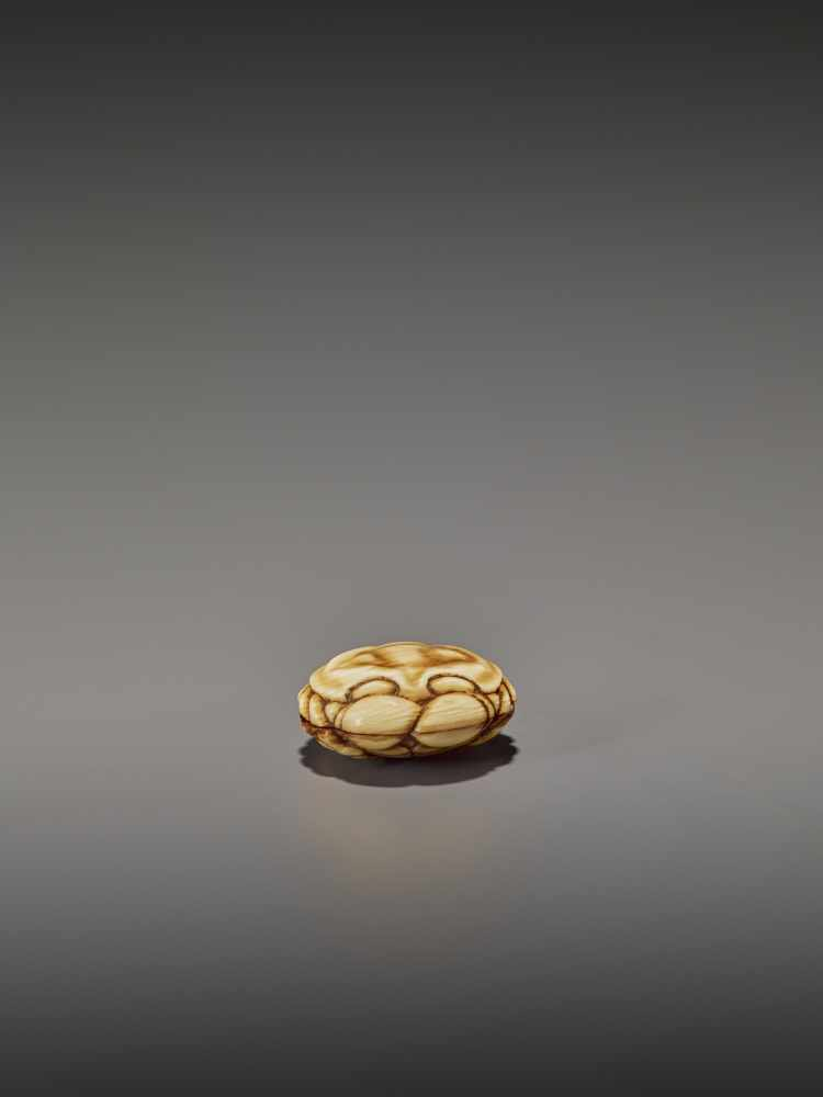 A FINELY STAINED WALRUS IVORY TWO-PART MANJU NETSUKE OF A CRAB UnsignedJapan, Osaka, early to mid- - Image 9 of 10