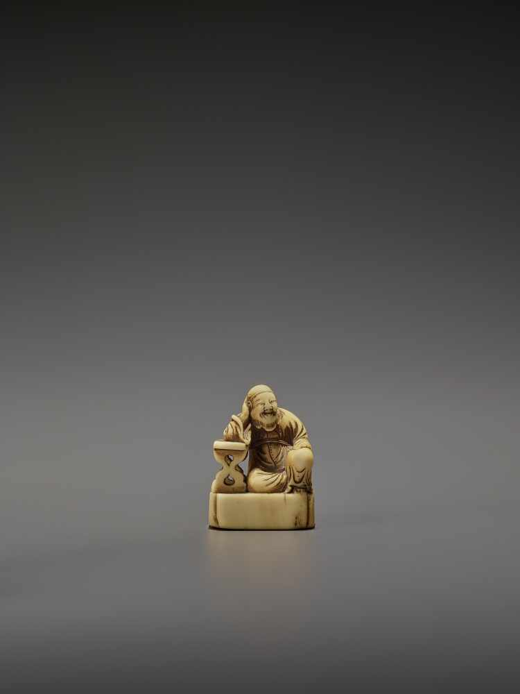 A RARE AND EARLY IVORY NETSUKE OF RIHAKU UnsignedJapan, early to mid-18th century, Edo period (