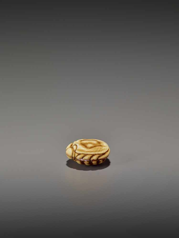 A FINELY STAINED WALRUS IVORY TWO-PART MANJU NETSUKE OF A CRAB UnsignedJapan, Osaka, early to mid- - Image 5 of 10