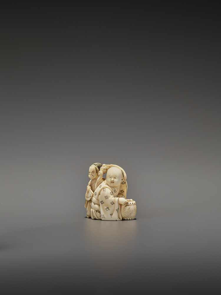 HOMIN: AN IVORY NETSUKE OF TWO BOYS AS MUSICIANS By Homin, signed Homin with kaoJapan, Edo/Tokyo, - Image 2 of 10