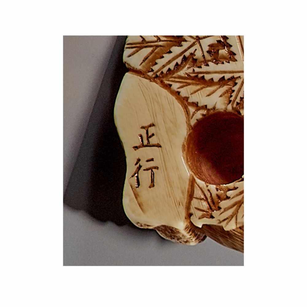 MASAYUKI: A FINE IVORY NETSUKE OF A BOAR SCRATCHING ITS EAR By Masayuki, signed MasayukiJapan, - Image 12 of 13