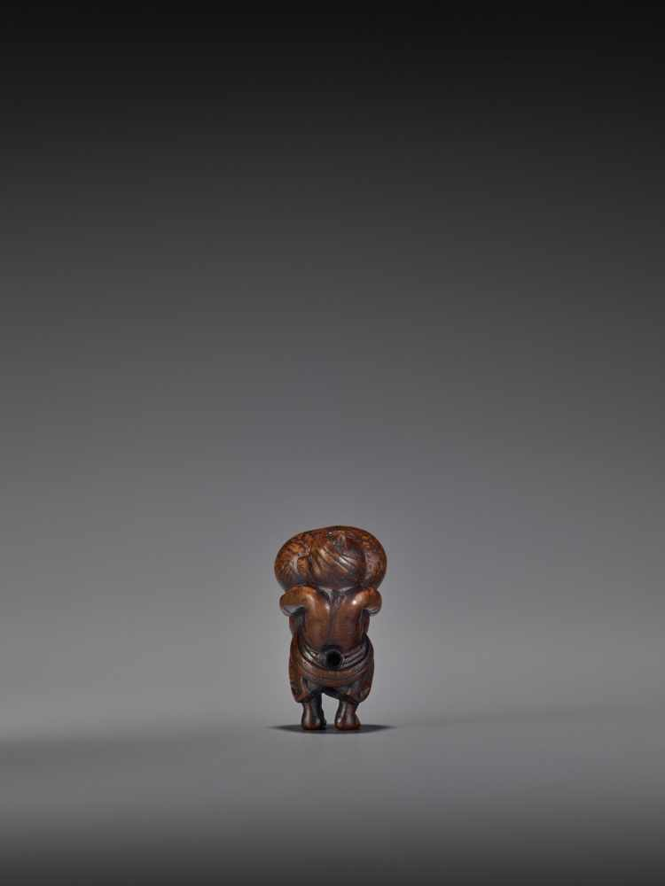 TOMOMASA: AN AMUSING WOOD NETSUKE OF A TANUKI WITH GIANT SCROTUM By Tomomasa, signed - Image 3 of 8