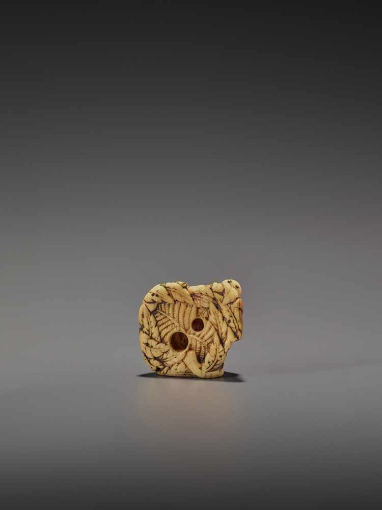 A FINE IVORY NETSUKE OF TWO RESTING BOARS UnsignedJapan, Kyoto, 18th century, Edo period (1615- - Image 2 of 9