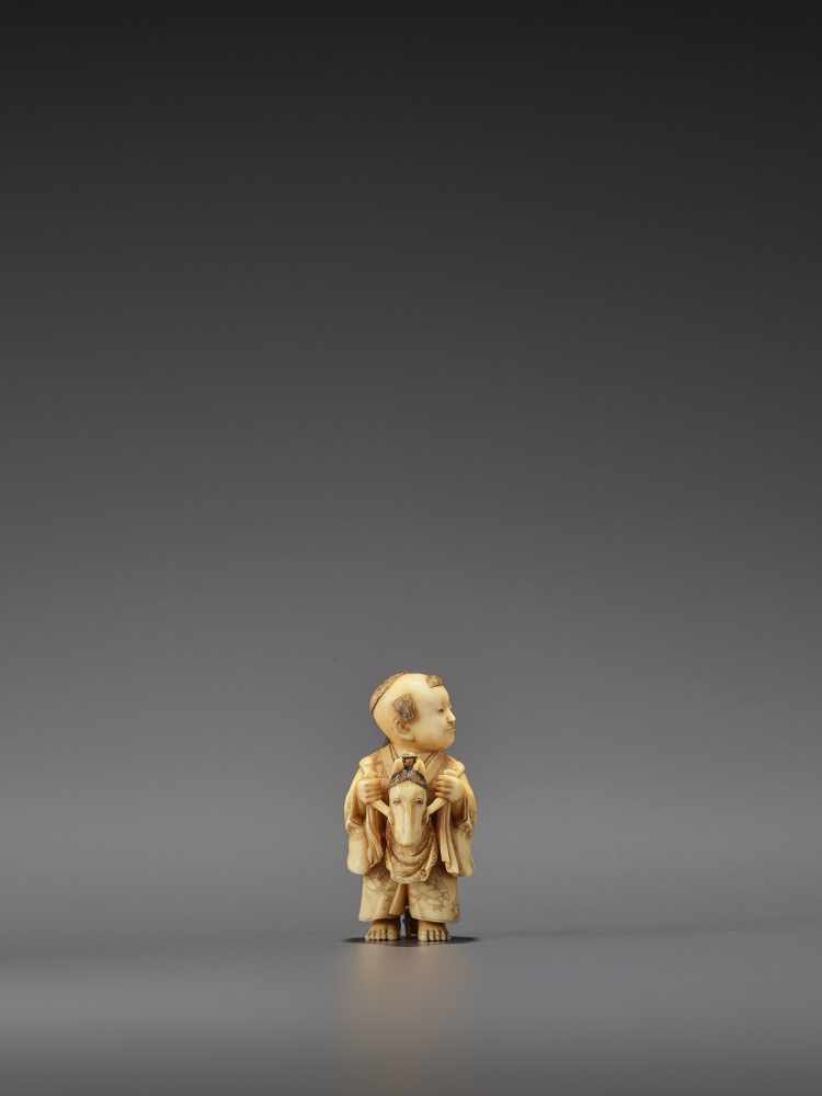 RYOMIN: A VERY FINE IVORY NETSUKE OF A BOY WITH HOBBY HORSE By Ono Ryomin, signed Ryomin with - Image 6 of 11