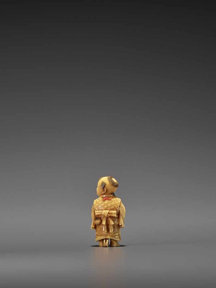 RYOMIN: A VERY FINE IVORY NETSUKE OF A BOY WITH HOBBY HORSE By Ono Ryomin, signed Ryomin with - Image 4 of 11
