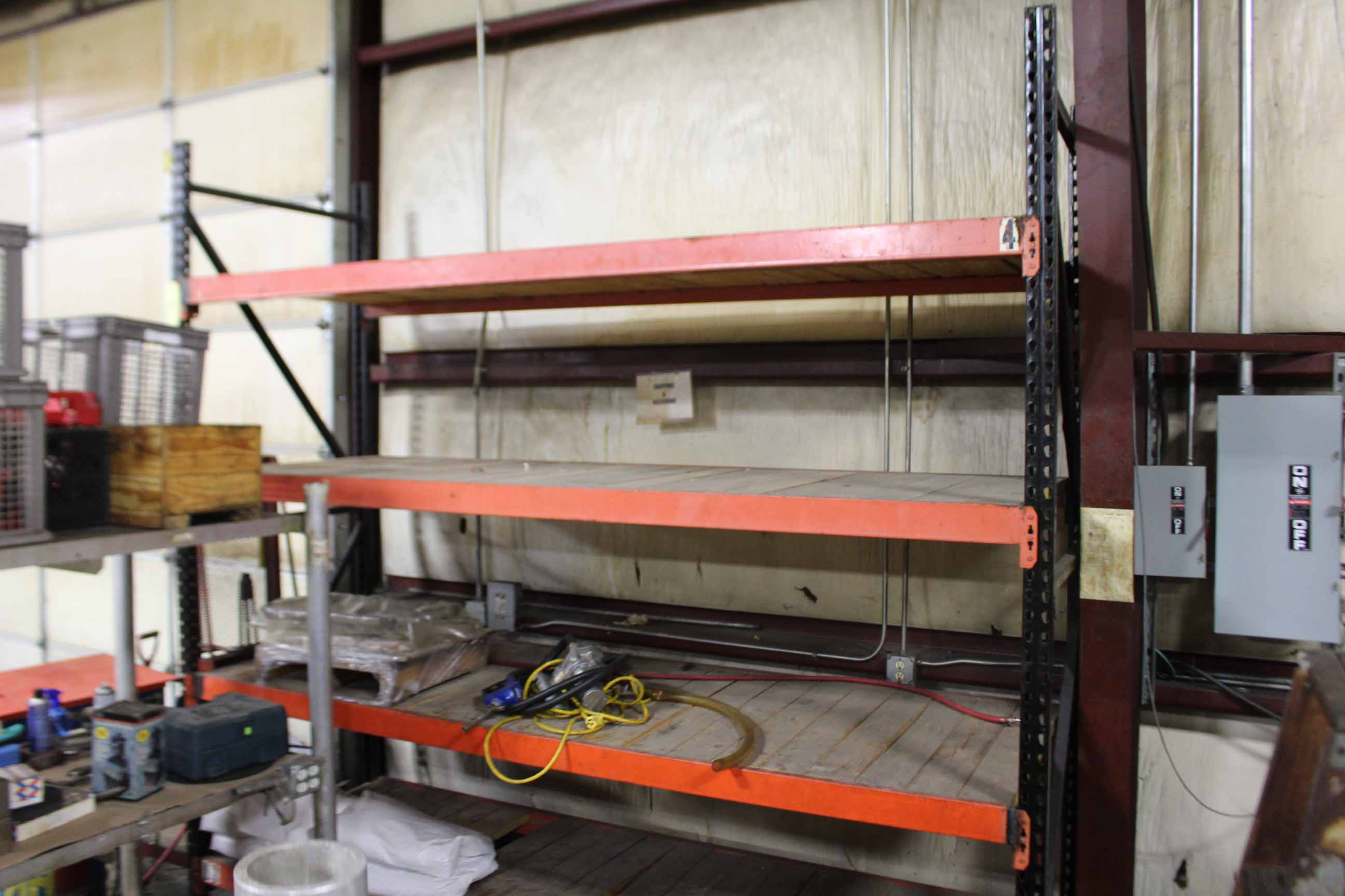 Lot 23 - PALLET RACK SECTION, 10' x 10' x 3-1/2', w/wood inserts