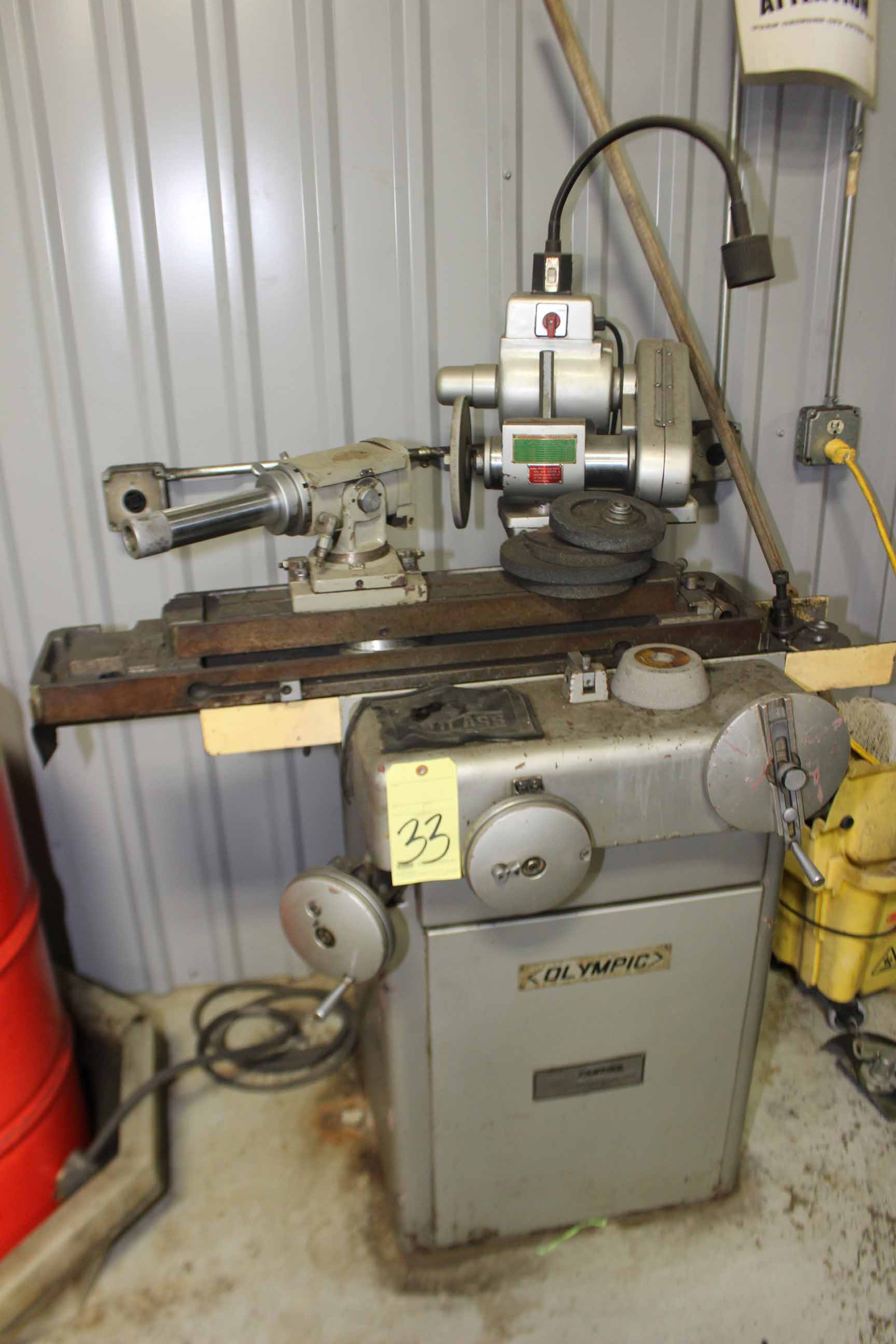 Lot 33 - TOOL & CUTTER GRINDER, OLYMPIC MDL. C-36-H, swivel spdl. head, air bearing endmill grinding fixture,