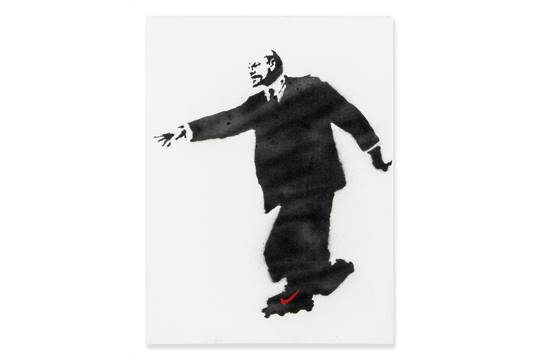 Banksy (b 1974) - Lenin on Rollerblades, 2003 spray paint on canvas