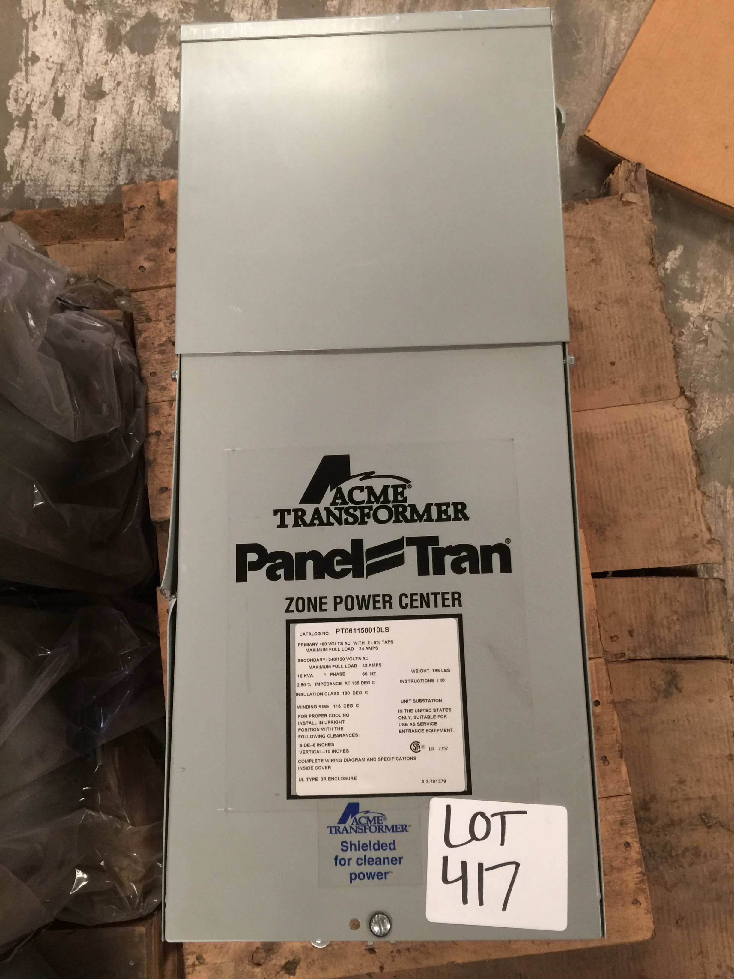 Acme Transformer Panel Trans Zone Power Center Cat Pt061150010l5 24 Volt Wiring Diagrams Lot 417 Primary 480